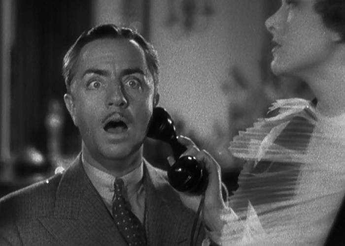 Nick Charles (William Powell) on the verge of discovery.